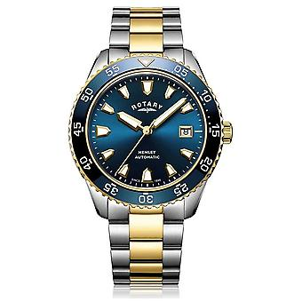 Roterende Mens Henley automatische Two Tone armband Blue Dial GB05131/05 horloge