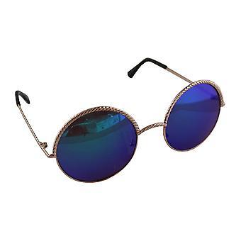 Sunglasses UV 400 Round gold Donkerblauw1903_5