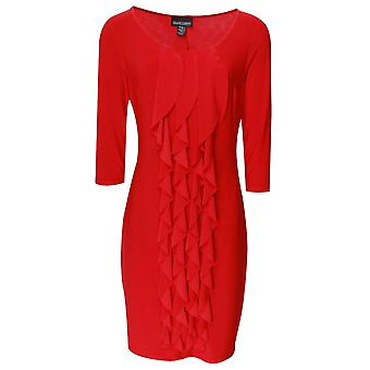 Frank Lyman Red Three Quarter Sleeve Frill Dress
