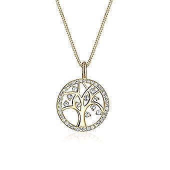 Elli kvinnors halsband klädd i gult guld med kristall-livets träd