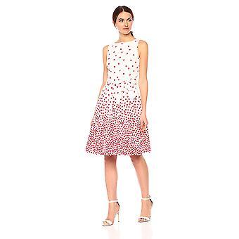 آن كلاين المرأة & s القطن المطبوعة FIT & مضيئة اللباس،، أبيض / الطماطم، حجم 6.0