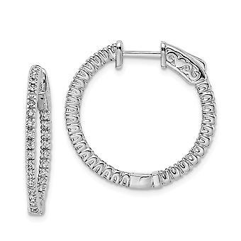 925 Sterling Silver Gångjärn Polerad Säkerhetslås CZ Cubic Zirconia Simulerad Diamond Round Hoop Örhängen Mäter 20x20m
