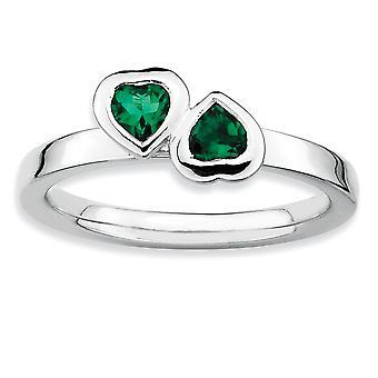 925 Sterling hopea kehys kiillotettu pinottavat ilmeet Cr. Smaragdi kaksinkertainen rakkaus sydänrengas korut lahjat naisille - Ri