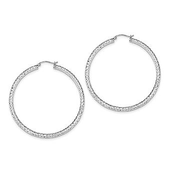 925 Sterling Silver Hinged Sparkle Cut 3x55mm Hoop Earrings Jewelry Gifts for Women - 4.4 Grams