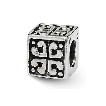 925 Sterling Silver Square Reflections SimStars Love Heart Cube Bead Charm Pendant Necklace Jewelry Gifts for Women