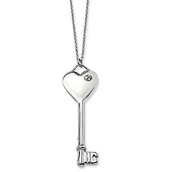 Rostfritt stål polerad Fancy hummer stängning hjärta med Cubic Zirconia nyckel halsband - 20 tum