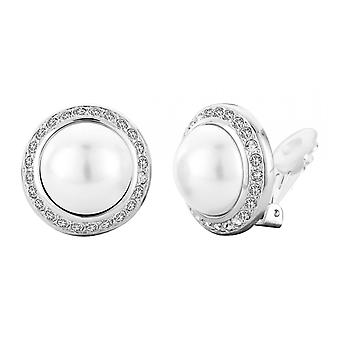 Reiziger clip Earring-16mm witte parel-rhodium plated-113260
