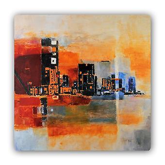 Metalen print, abstractie Panorama stad