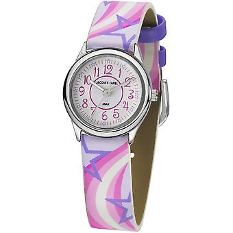 JACQUES FAREL Kids Wristwatch Analog Quartz Girl Faux Leather HCC 324 Stars