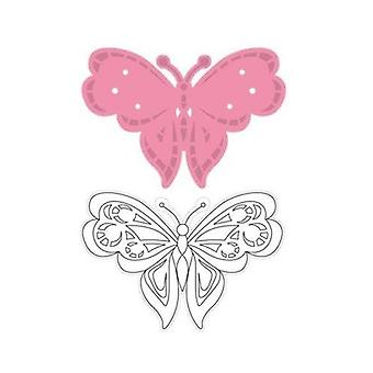 Marianne Design 2-Piece Tinys Butterfly 2 Collectables Cutting Die and Clear Stamp Set, Multi-Colour