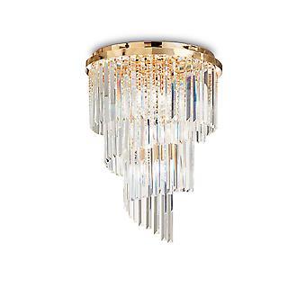 Idéal Lux Carlton 12 Light Ceiling Light Chandelier Gold IDL213507