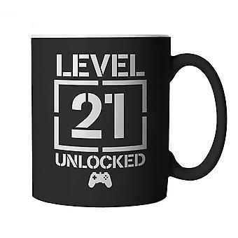 Level 21 Unlocked Video Game Birthday, Mug | Age Related Year Birthday Novelty Gift Present | 60s 70s 80s 90s Dad Grandad Son Mum Daughter | Gaming Cup Gift