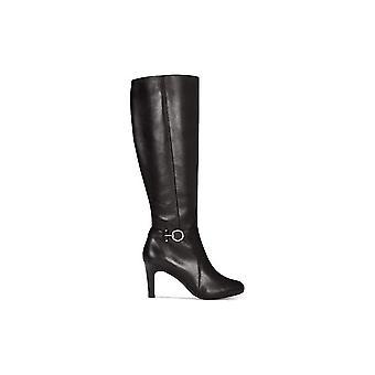 Bandolino Womens Lella Almond Toe Knee High, Black Leather, Size 11.0
