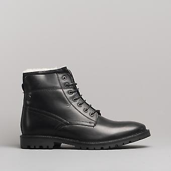 Base London mørtel menns Lær ankel støvler voksaktig svart