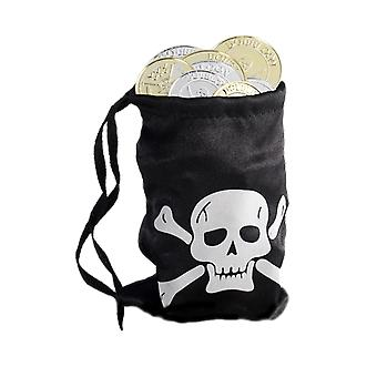 Pirate Loot Bag With Coins Fancy Dress Party Accessory