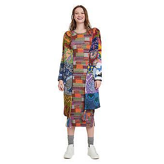 Desigual Women's Houston Multicoloured Patchwork Long Cardigan
