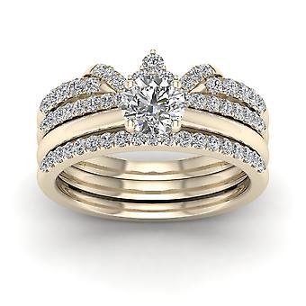Igi certifierad 14k gult guld 1 ct rundskuren diamant krönt brudring set