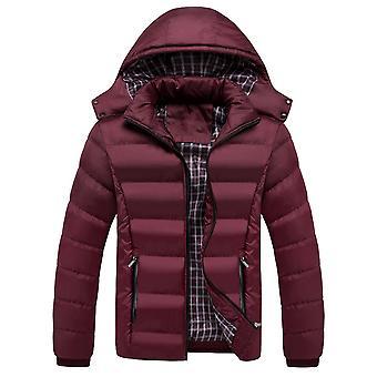 Allthemen Men's Solid Hodded Mid-Length Coat Casual Long Overcoat Multi-Pocket