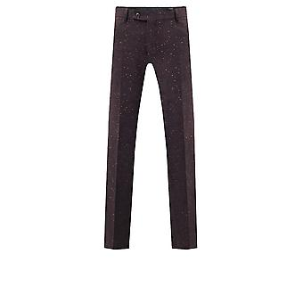 Dobell Mens Burgundy Flecked Donegal Tweed Trousers Slim Fit