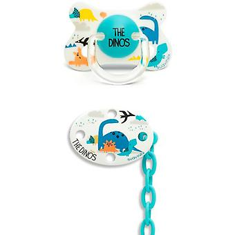 Suavinex Anatomical Pacifier + Blue Dino Oval Brooch