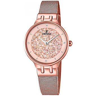 Festina MADEMOISELLE F20387-2-kijken PVD of roze CADRAN SWAROVSKI roze armband MILANAIS ROSE vrouwen
