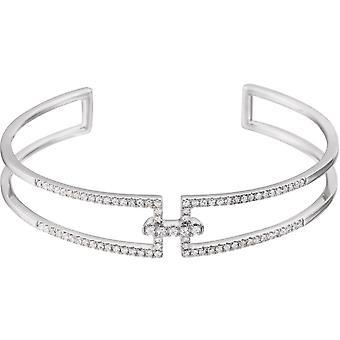 14k White Gold Polished 0.75 Dwt Diamond Cuff 6 Inch Bracelet