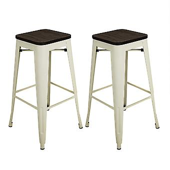 Charles Bentley Par av 2 Steel Metal Industrial Wood Top Stapelable Kök Frukost Bar Stolar 76cm Cream