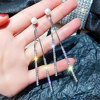 Silver Long Chain Drop Earrings
