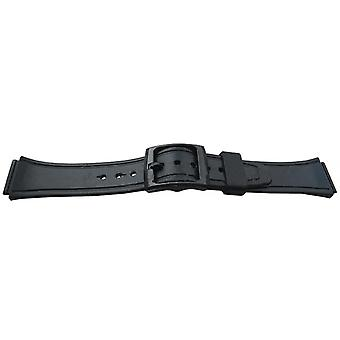 Sports and leisure rubber watch strap water 18mm black slide in ends