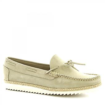 Leonardo Shoes Men's handmade slip-on loafers shoes sand suede calf leather