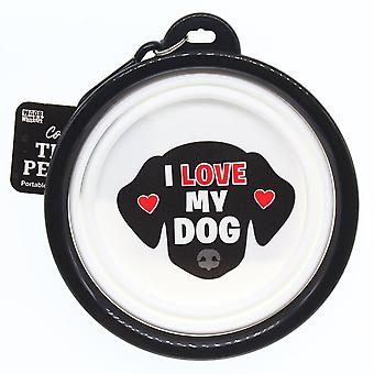 Wags & Whiskers Travel Pet Bowl - I Love My Dog