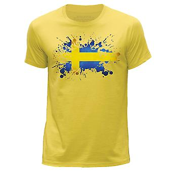 STUFF4 Wokół szyi męskie T-shirty Shirt/Szwecja/szwedzki flaga Splat/żółty