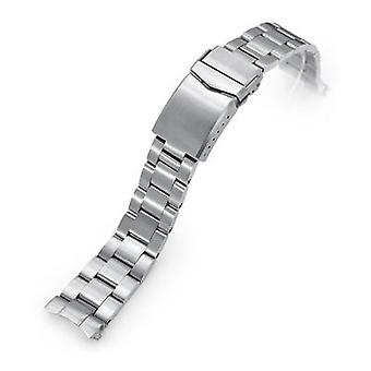 Strapcode watch bracelet 20mm super 3d oyster 316l stainless steel watch bracelet for seiko cocktail ssa345, v-clasp, brushed