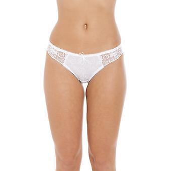 Camille Womens damer Florence ren Mesh broderte blonder Thong i hvit størrelse 10-18