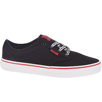 Vans Kids Juniors Atwood Canvas Low Top Casual Trainers Shoes - Black/White