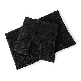 Ensemble Mat premier noir 100 % coton bain et socle