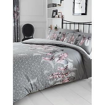Geometric Feathers King Duvet Cover and Pillowcase Set - Grigio