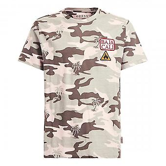Guess Pink Camo Palm Crew Neck T-Shirt M0GI75I3Z00