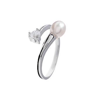 Regulerbar ring Pearl White eller black, Cz og 925 sølv sten kultur
