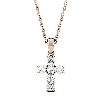 Jamais une Moissanite Rose d'or Collier pendentif, 0.36cttw croix de rosée (D-E-F)