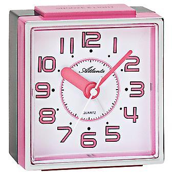 أتلانتا 1938/17 منبه من الساعة الكوارتز التناظرية الوردي الوردي الناعمة دون تكتك مع غفوة خفيفة