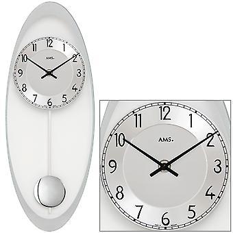 AMS 7416 Seinäkello Kvartsi heiluri hopea soikea heiluri kello lasi ja alumiini