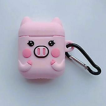 Cartoon Airpods Silicone Case Cover case for Apple Airpods-Cute piggy-with lobster clasp