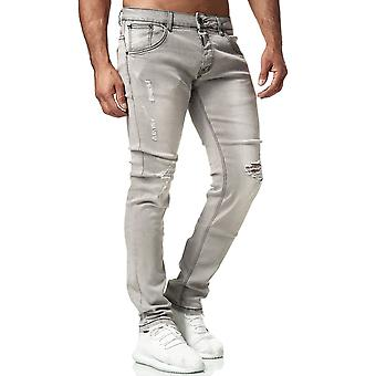 Mens Denim Jeans Classic Regular Fit Pants Used Washed Look Destroyed Trousers