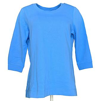 Denim & Co. Women's Active French Terry 3/4-Sleeve Sweatshirt Blue A351591
