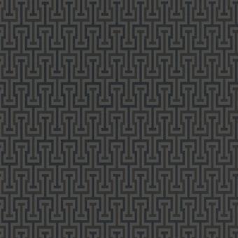 Vanity Fair Geometric Key Design Wallpaper Charcoal/Black Rasch 525359
