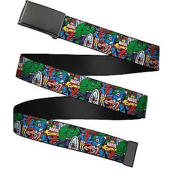 Marvel Comics Characters Collage Chrome Buckle Web Belt