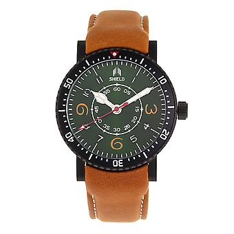 Shield Gilliam Leather-Band Men's Diver Watch - Black/Green