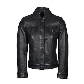 Westways Casual Leather Jacket in Navy