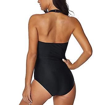 Women One Piece Swimsuit HalterStripes High Neck V-Neckline Backless Bikini Monokini Swimwear Black